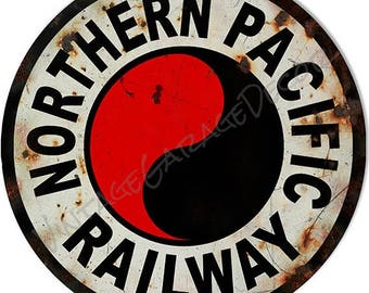 "Vintage Style "" Northern Pacific Railway Logo "" Railroad / Train Metal Sign, rusted"