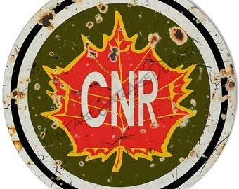 """Vintage Style """" CNR - Canadian National Railway """" Railroad / Train Metal Sign, rusted"""