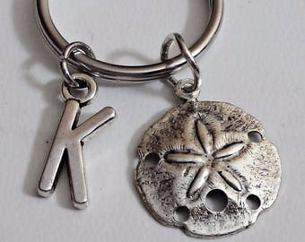 Great Design brass stamping sand dollar  personalized  initial keychain /u1