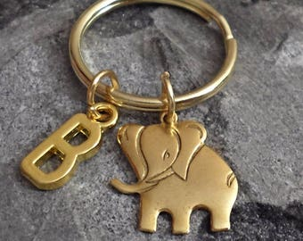 Great Design brass stamping elephant personalized  initial keychain /u1