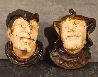 Faust and Mephistopheles chalkware candle stick holders German folklore devil