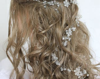 Bridal Hair Vine rose gold Bridal Wreath Bridal Tiara Diadem Crystals Bridal Wedding Vine Long Bridal vine Long  Headband Bridal Hairpiece