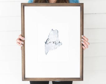 Maine Watercolor, Maine Print, Maine Home, Maine Wall Art, Maine Painting, ME state, Maine Watercolor Print, Maine Wall Decor