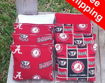 "FREE SHIPPING! Alabama Roll Tide set of 8 corn hole bags, top notch quality: 6"" regulation size!"