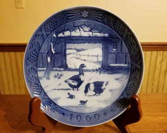 1969 cobalt blue Christmas collectible plate, In The Old Farmyard by Royal Copenhagen Denmark, winter in Denmark scenery  Christmas gift