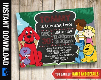 Clifford the Big Red Dog Invitation, Instant Download, Printable Invite, Birthday, Party, Editable Invitation, Digital Print, Clifford