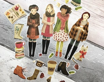 Fall Girls Ephemera Pack, fall girl die cuts, planner girl die cuts, autumn die cuts, fall die cuts,