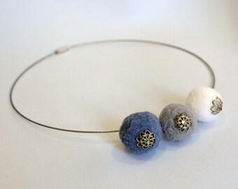 Choker necklace with beads soft felt metallic detail handmade gray white