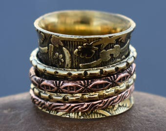 Meditation spinner rings | Brass unpolished spinning bands | Birthday gift wide jewelry ring | Tribal boho ring | Festive wear rings | R197