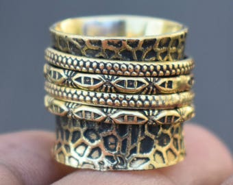 Brass spinner rings | Ethnic texture band ring | Meditation birthday gift ring | Good luck jewelry ring | Anniversary party wear ring | R233
