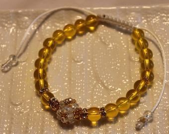 Beautiful Citrine & crystal-beaded bracelet; handmade, shamballa, beadweaving, cute, casual-wear, party-wear