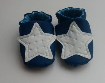 Soft leather slippers pattern stars