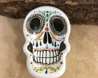Handmade ceramic 'day of the dead' skull dish