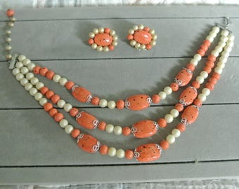 Vintage Pumpkin and White Speckled Necklace and Earrings