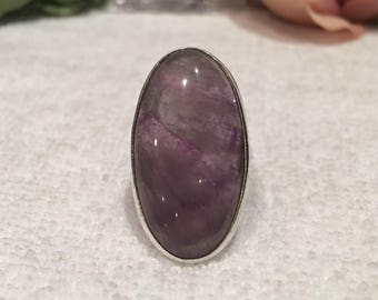 Spectacular Vintage Sterling Silver & AMETHYST AGATE Statement Ring-Wonderful Long Oval Design-Beautiful Patterned Stone-Size L - Us 5.5