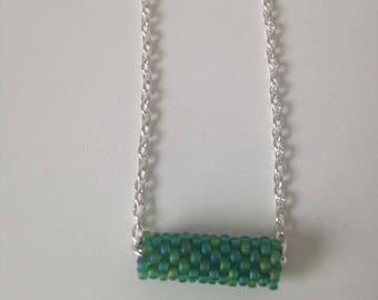 Peyote stitch Green tube necklace
