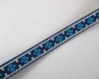 Braid, strap, fantasy, vintage, white and blue, 12 mm wide.