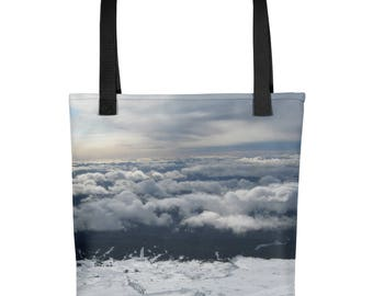 Nature inspired Tote bag. Mountains. Clouds. Snow. Unique Tote bag. Womens Clothing