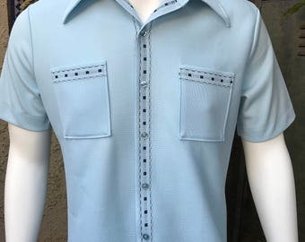 Mr California Vintage 60s Robins Egg Blue with Embroidered Black Detail Short Sleeve Knit Shrit/  Large Knit Men's Button Front Casual Shirt