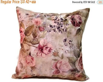 20% off Magenta Pillow, Pink Floral Pillow, Magenta Floral Bed Pillow, Pink Flotral Bed Pillows, Blush Floral Couch Pillow,  size 18x18 inch