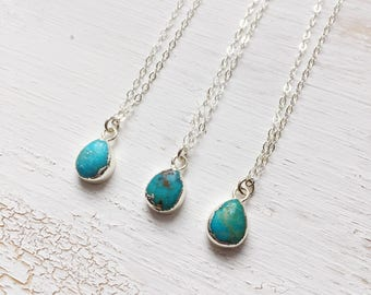 Genuine turquoise drop Choker | 925 sterling silver chain. Gypsy boho Nomad jewelry | Festival gemstone chain | Teardrop