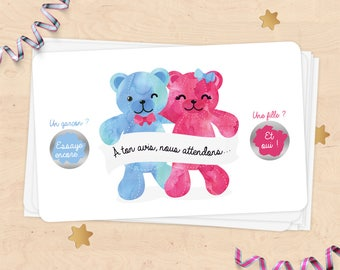 Mini scratch card announcement pregnancy, baby gender, girl or boy - Teddy bear watercolor collection