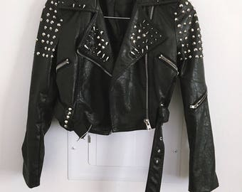 Retro 1990s Spiked Leather Jacket