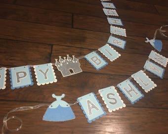 Cinderella large happy birthday banner