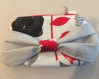 Bow clutch, Bow purse, Red grey and Tan clutch, modern clutch,