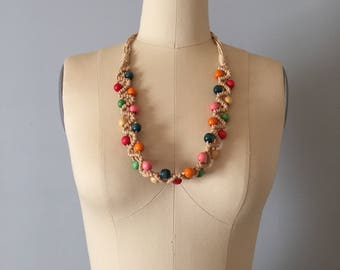 woven crochet wave necklace || beaded woven rope necklace
