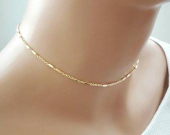 16k gold chain choker,gold choker,dainty choker,delicate chain choker,layering necklace,gold necklace,delicate gold necklace,simple choker