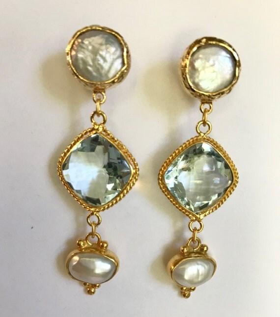 "Quartz and Pearl Earrings, Blue Quartz and White, Pearl Posts, Cushion Shape Quartz, 2.5"" Long"
