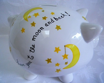 Moon and stars Piggy bank, personalized piggy banks, painted piggy banks, baby accessories, children's bank, nursery decor