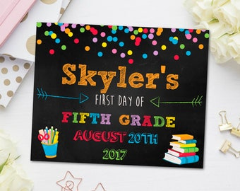 First Day of Fifth Grade Sign, First Day of School Chalkboard, Back to School Sign, Kindergarten, Fifth Grade, Second Grade