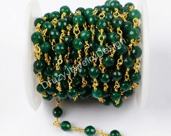 5m Of One Strand,Beaded Chains,Handmade Craft Supply,Gold/Silver Plated Chains,Green Quartz Beaded Chains,Jewelry Finding,BC076