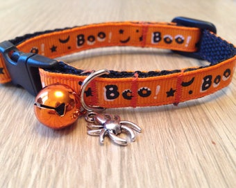 Halloween orange 'Boo!' Cat/Kitten Safety Breakaway Collar (Quick Release) with Charm and bell options