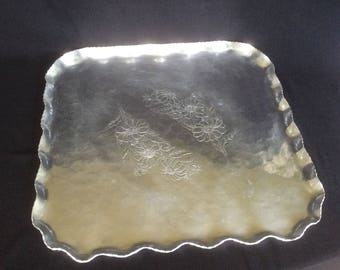 Vintage Hand Wrought Aluminum Serving Tray with Ruffle Edge