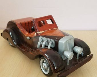 RARE Vintage Handcrafted Wooden Car 1960-1970
