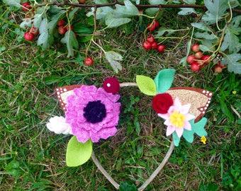 Fawn ears, woodland deer boho headband, floral crown and glitter ears