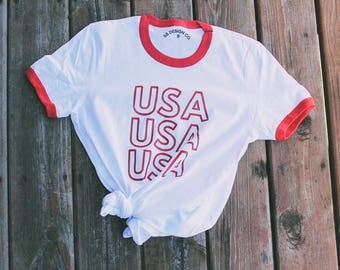 USA Tee - USA Ringer T-shirt - Patriotic Shirt - USA Shirt - America - Merica - Patriotic - Red White and Blue - Fourth of July