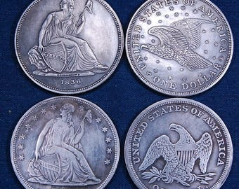 Replicas of Rare US Silver Dollars:  1836 & 1840 37 mm Each