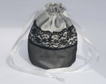 Silver Satin Black Organza &  Lace Dolly Bag / Handbag Bride Communion Christening Wedding Bridesmaid