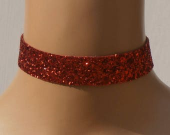 Red Glitter Fabric Choker Satin Ribbon Ties Free Size