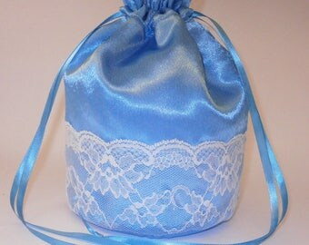 Turquoise Satin & White Lace Dolly Bag Evening Handbag / Purse For Wedding /Bridesmaid/ Prom Drawstring