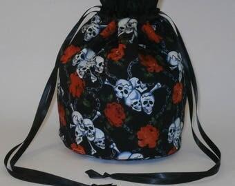 Black & White Skull And Cross Bones with Red Roses Evening Fancy Dress Handbag Dolly Bag/ Purse
