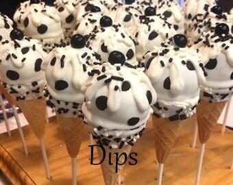 Cake pops, Ice cream cones, Dalmatian theme, black and white, polka dot