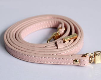 Embossed Light Pink Leather Bag Strap Replacement 1cm wide