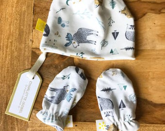 Woodland Baby Hat and Scratch Mittens in Organic Cotton a Perfect Baby Shower Gift for Outdoor Families