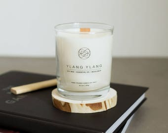 Soy Candle With Wood Wick - Ylang Ylang Candle - Eco Candle - Long Burning Candle - Essential Oil Candle - Vegan Candle
