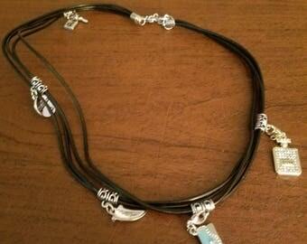 Wrap leather charm bracelet